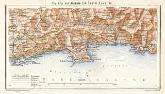 Italian Genoese/Levantian Riviera (Riviére) from Genua to Sestri Levante map, 1929