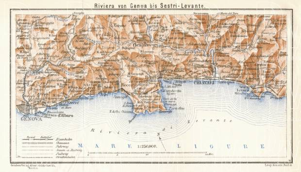 Italian Genoese/Levantian Riviera (Riviére) from Genua to Sestri Levante map, 1929. Use the zooming tool to explore in higher level of detail. Obtain as a quality print or high resolution image