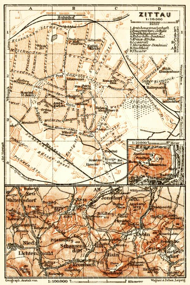 Zittau city map, 1911. Use the zooming tool to explore in higher level of detail. Obtain as a quality print or high resolution image
