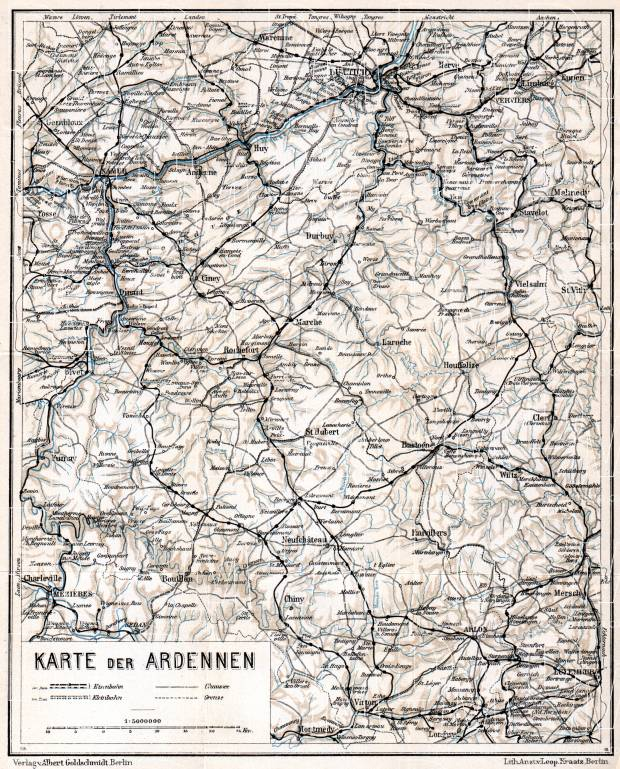 Holland on the general map of the Ardennes, 1908. Use the zooming tool to explore in higher level of detail. Obtain as a quality print or high resolution image