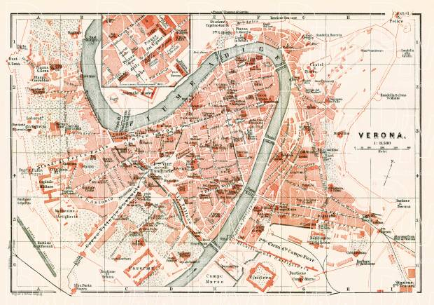 Verona city map, 1898. Use the zooming tool to explore in higher level of detail. Obtain as a quality print or high resolution image