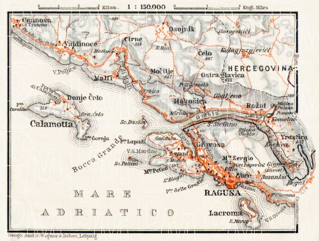 Ragusa (Dubrovnik) environs map, 1913. Use the zooming tool to explore in higher level of detail. Obtain as a quality print or high resolution image