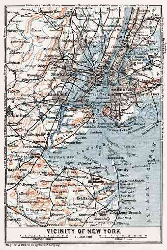 Map of the Farther Environs of New York, 1909