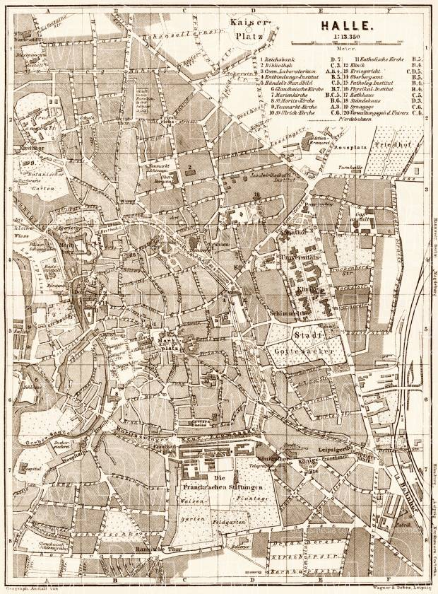 Halle city map, 1887. Use the zooming tool to explore in higher level of detail. Obtain as a quality print or high resolution image