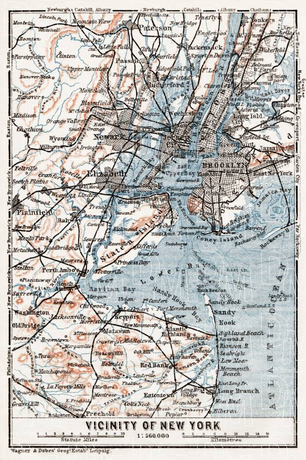 Map of the Farther Environs of New York, 1909. Use the zooming tool to explore in higher level of detail. Obtain as a quality print or high resolution image