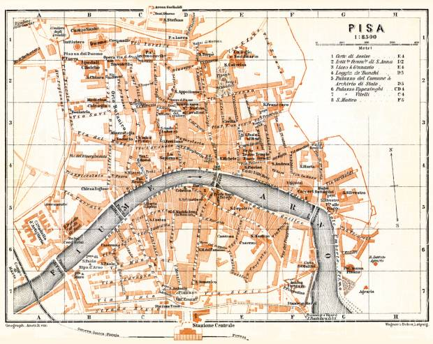 Pisa city map, 1898. Use the zooming tool to explore in higher level of detail. Obtain as a quality print or high resolution image
