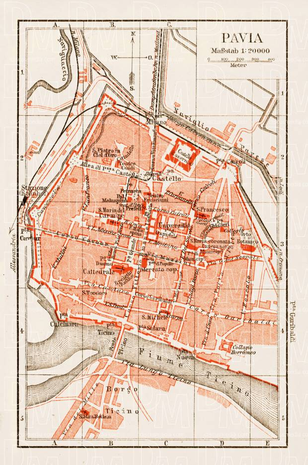 Pavia city map, 1903. Use the zooming tool to explore in higher level of detail. Obtain as a quality print or high resolution image