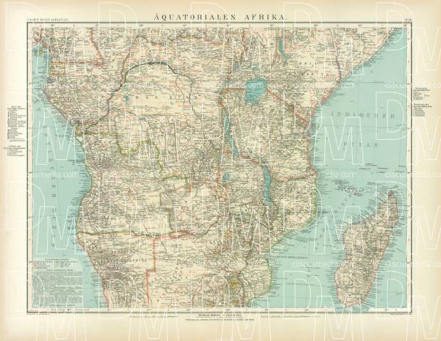Equatorial Africa Map, 1905. Use the zooming tool to explore in higher level of detail. Obtain as a quality print or high resolution image