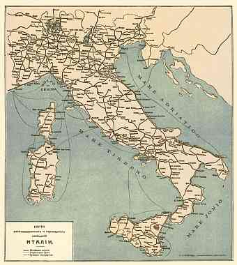 Railway and Steamboat map of Italy, 1900