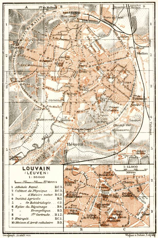 Louvain (Leuven) city map, 1909. Use the zooming tool to explore in higher level of detail. Obtain as a quality print or high resolution image