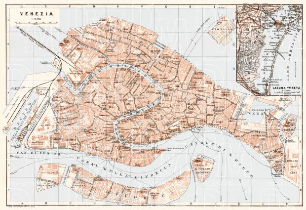 Venice city map, 1911. Laguna Veneta map. Use the zooming tool to explore in higher level of detail. Obtain as a quality print or high resolution image