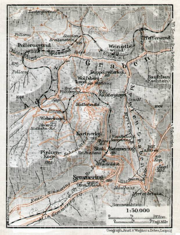 Semmering and environs map, 1910. Use the zooming tool to explore in higher level of detail. Obtain as a quality print or high resolution image
