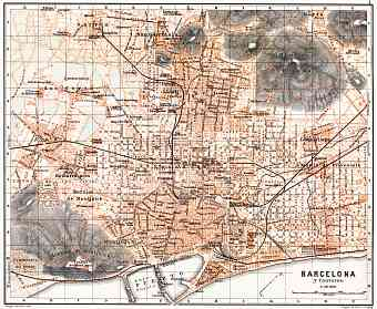 Barcelona city map, 1899