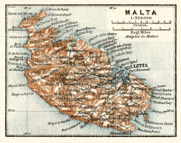 Malta general map, 1929. Use the zooming tool to explore in higher level of detail. Obtain as a quality print or high resolution image