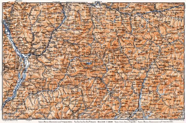 Dolomite Alps (Die Dolomiten) from Franzensfeste to Belluno district map, 1905. Use the zooming tool to explore in higher level of detail. Obtain as a quality print or high resolution image