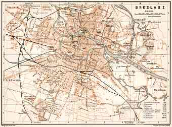 Breslau (Wrocław) city map, 1911