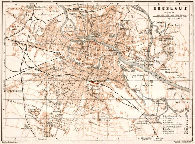 Old map of Breslau Wrocaw in 1911 Buy vintage map replica poster