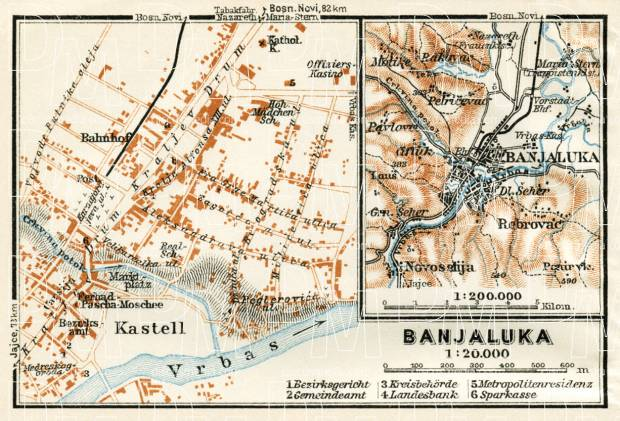 Banja Luka (Banjaluka), city map and environs map, 1929. Use the zooming tool to explore in higher level of detail. Obtain as a quality print or high resolution image