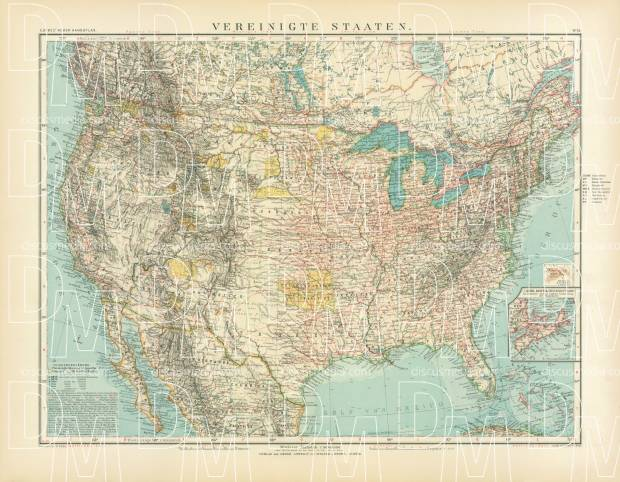 United States Map, 1905. Use the zooming tool to explore in higher level of detail. Obtain as a quality print or high resolution image