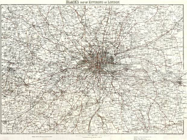 London And Greater London Map.Greater London Environs Of London 1907