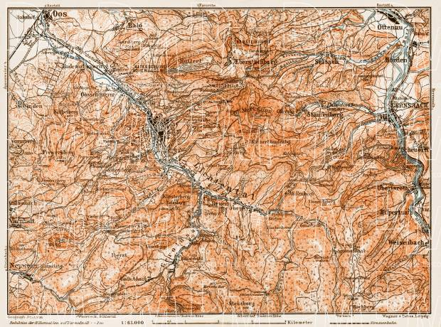 Map of the environs of Baden (Baden-Baden), 1909. Use the zooming tool to explore in higher level of detail. Obtain as a quality print or high resolution image