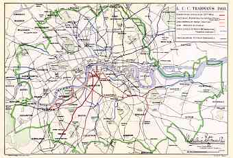 London City Council Tramway network map, 1904