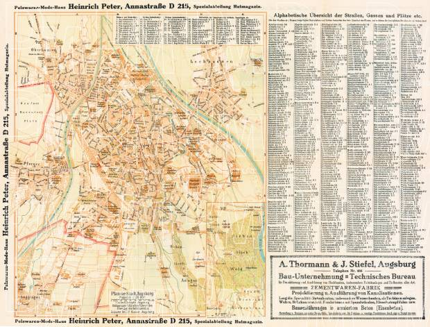 Augsburg city map, 1914. Use the zooming tool to explore in higher level of detail. Obtain as a quality print or high resolution image