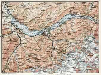 Berne Highlands (Bernese Oberland) map, 1909