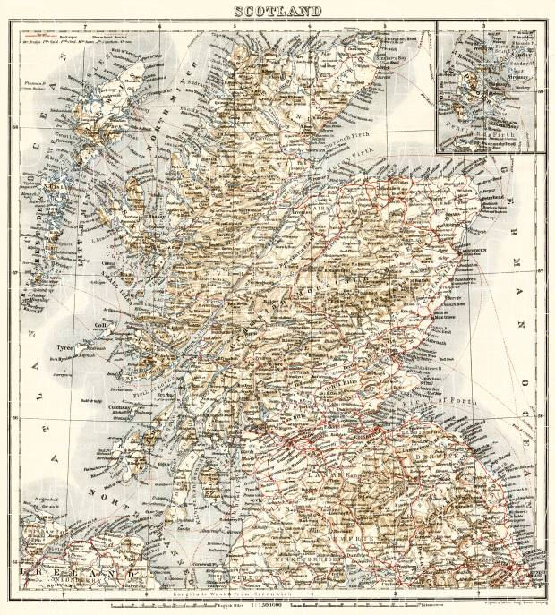 photograph about Printable Map of Scotland known as Scotland, in general map, 1906
