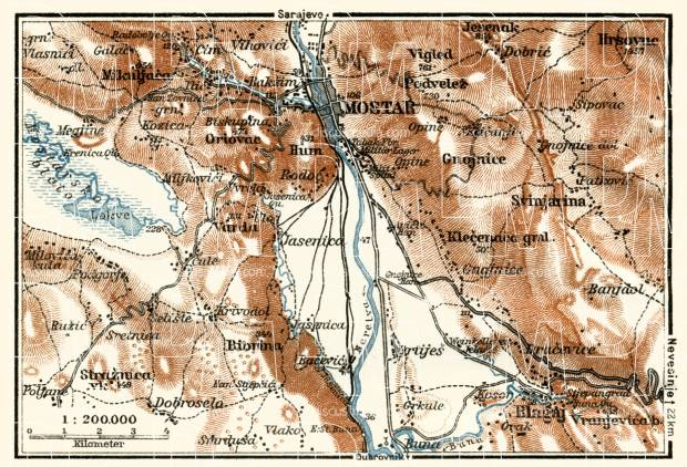 Mostar nearer environs map, 1929. Use the zooming tool to explore in higher level of detail. Obtain as a quality print or high resolution image