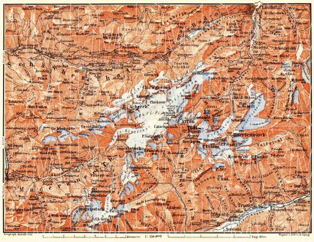 Tödi district map, 1897. Use the zooming tool to explore in higher level of detail. Obtain as a quality print or high resolution image
