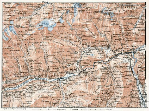 Ilanz, Flims and environs map, 1909. Use the zooming tool to explore in higher level of detail. Obtain as a quality print or high resolution image