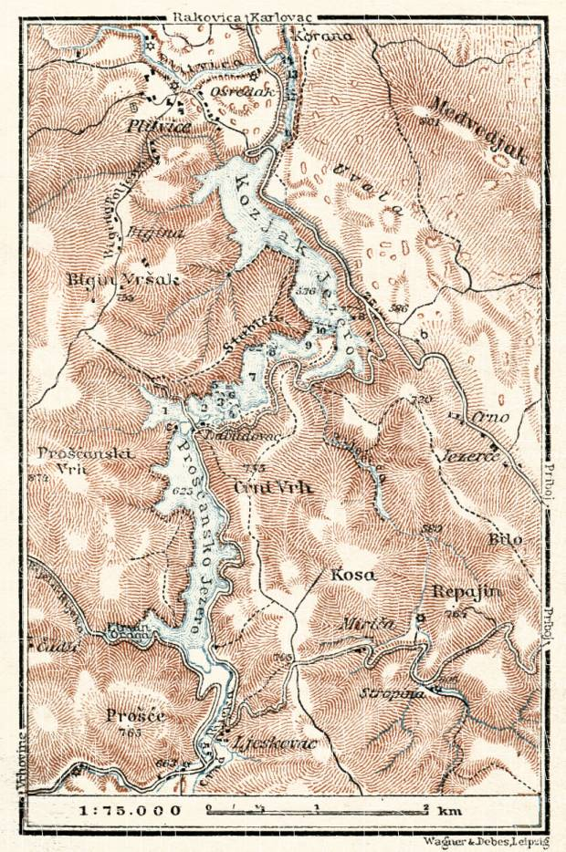 Plitvice Lakes map, 1929. Use the zooming tool to explore in higher level of detail. Obtain as a quality print or high resolution image