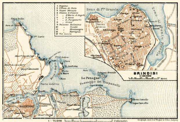 Brindisi town plan. Environs of Brindisi map, 1929. Use the zooming tool to explore in higher level of detail. Obtain as a quality print or high resolution image