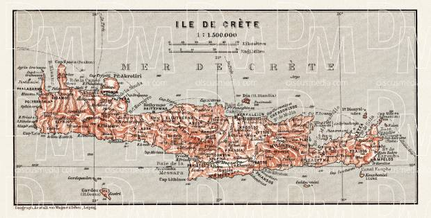 Crete (Κρήτη, Krḗtē) map, 1908. Use the zooming tool to explore in higher level of detail. Obtain as a quality print or high resolution image
