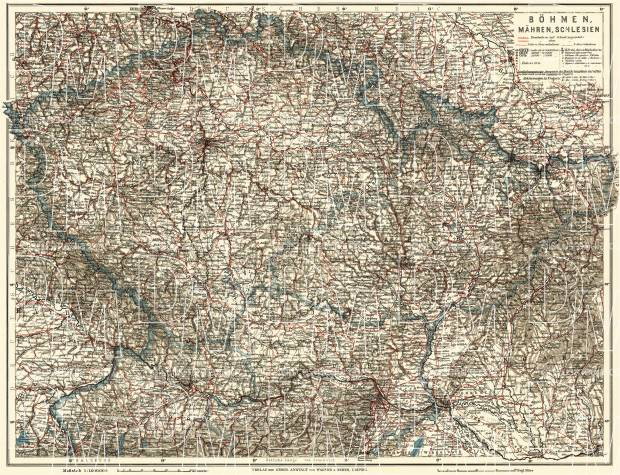 Czechia on the general map of Bohemia, Moravia and Silesia, 1911. Use the zooming tool to explore in higher level of detail. Obtain as a quality print or high resolution image