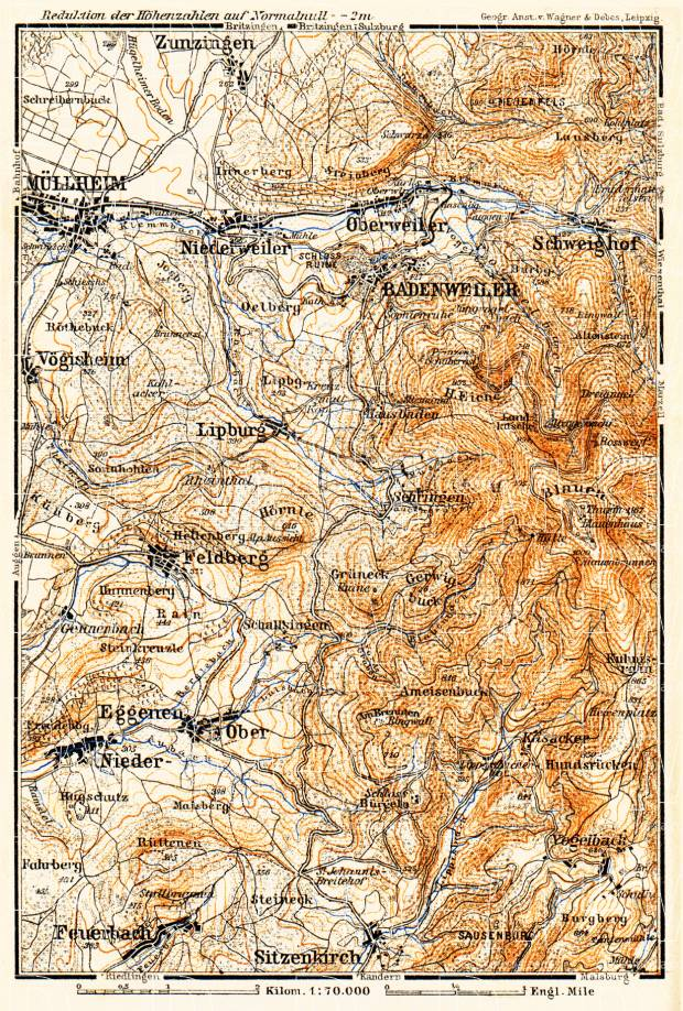 Müllheim environs map, 1905. Use the zooming tool to explore in higher level of detail. Obtain as a quality print or high resolution image