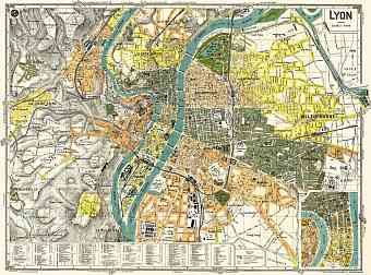 Lyon city map, 1918