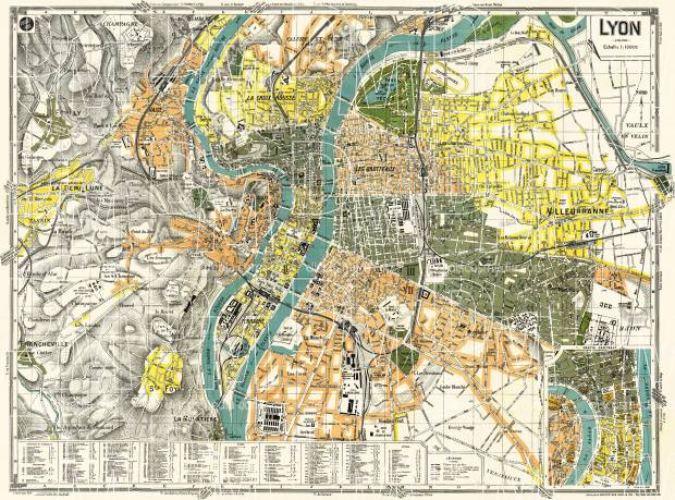 Old map of Lyon in 1918 Buy vintage map replica poster print or