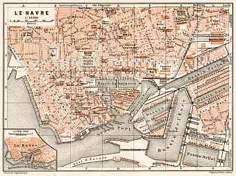Le Havre city map, 1909