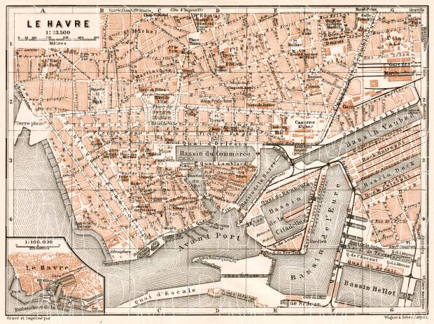 Le Havre city map, 1909. Use the zooming tool to explore in higher level of detail. Obtain as a quality print or high resolution image