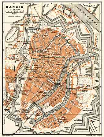 Danzig (Gdańsk) city map, 1887