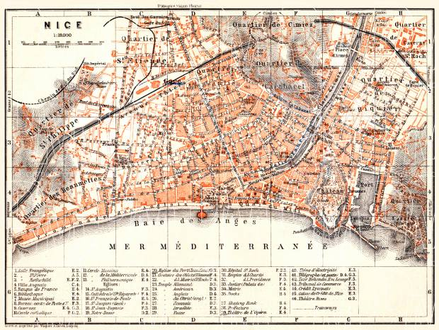 Nice city map, 1900. Use the zooming tool to explore in higher level of detail. Obtain as a quality print or high resolution image
