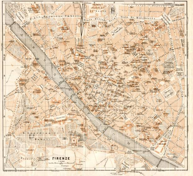 Florence (Firenze) city map, 1908. Use the zooming tool to explore in higher level of detail. Obtain as a quality print or high resolution image