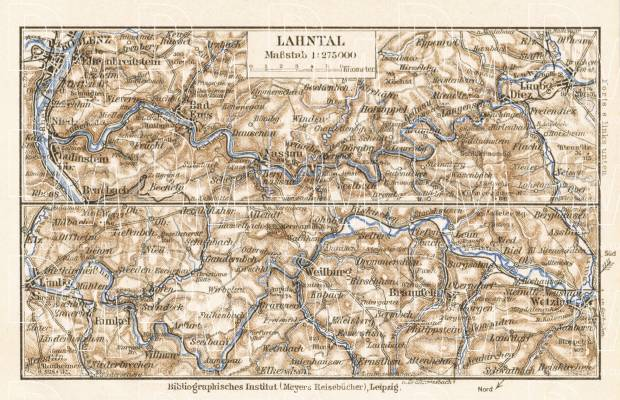 Lahn river valley map, 1927. Use the zooming tool to explore in higher level of detail. Obtain as a quality print or high resolution image