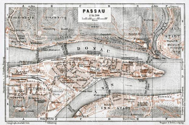 Passau city map, 1910. Use the zooming tool to explore in higher level of detail. Obtain as a quality print or high resolution image