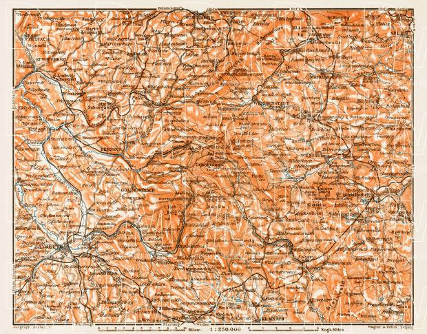 Map of the Fichtel Mountains (Fichtelgebirge), 1909. Use the zooming tool to explore in higher level of detail. Obtain as a quality print or high resolution image