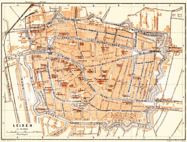 Old map of Leiden in 1904 Buy vintage map replica poster print or