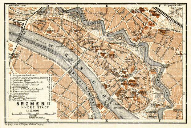 Bremen, central part map, 1906. Use the zooming tool to explore in higher level of detail. Obtain as a quality print or high resolution image