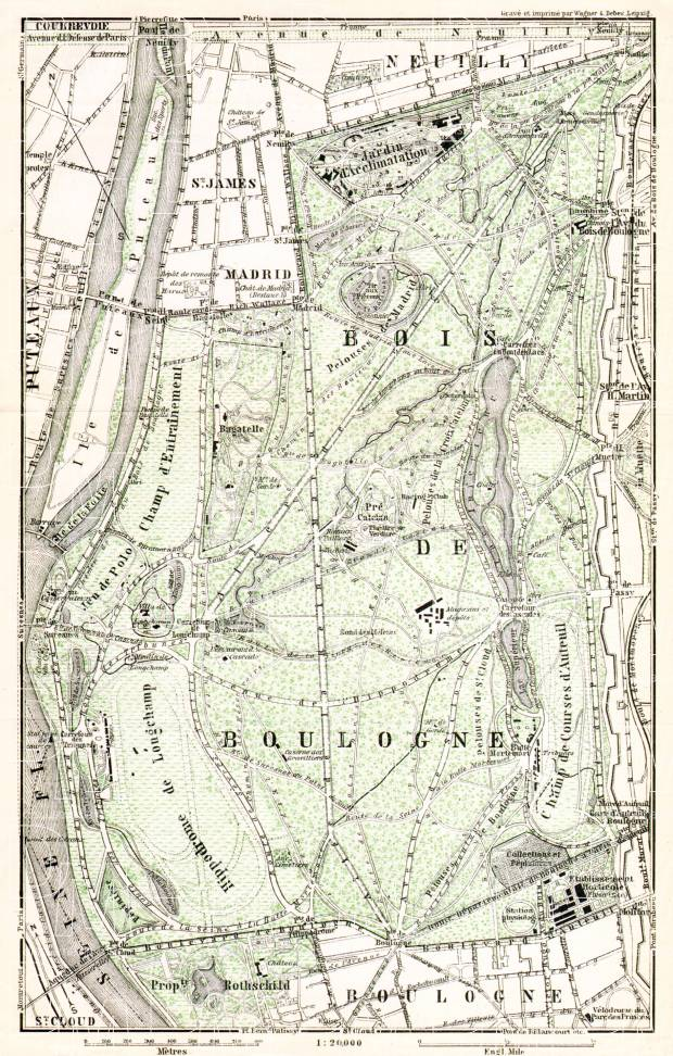 Forest of Boulogne (Bois de Boulogne) map, 1910. Use the zooming tool to explore in higher level of detail. Obtain as a quality print or high resolution image